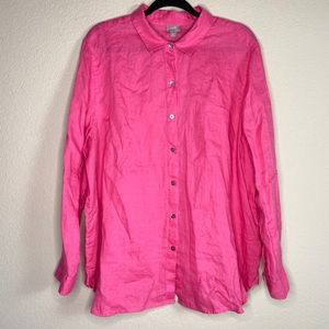 J. Jill pink linen button up shirt